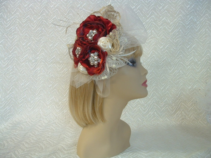 Very Vintage style red, gold and ivory fascinator http://www.ebay.com.au/itm/BRIDAL-WEDDING-FASCINATOR-RED-FLOWERS-GOLD-IVORY-CRYSTAL-PEARL-VINTAGE-STYLE-/271200550457?pt=AU_Wedding_Clothing=item3f24cffe39