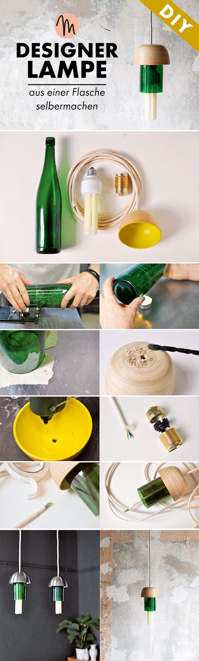 Designerlampe aus einer alten Weinflasche einfach selber machen als Upcycling Projekt - DIY-Anleitung via Makerist.de
