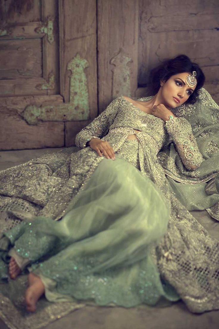 Pakistani model Meera Ansari posing for Elan Bridals.