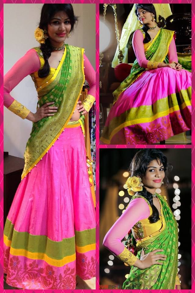 Pink lehanga with pink floral, yellow and green triple border. Pink full sleeved blouse and green dupatta. Langa oni/ half saree/ ghagra choli. Golden Threads by Kavita and Dhanya Gutta.