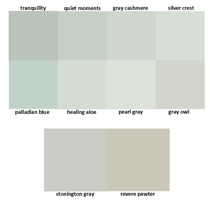 Benjamin Moore Greys: tranquility / quiet moments / gray cashmere ...