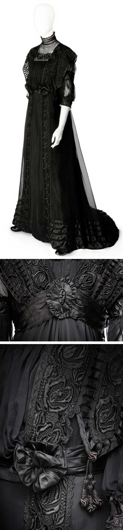 Mourning gown, ca. 1910. Silk and lace. Hallwyl Museum, Sweden