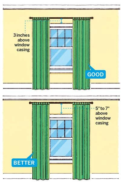 If your ceilings are on the low side, paint them white to make the room feel less claustrophobic. Hang curtains higher than the windows, suggests Allen-Brett, to trick your eye into thinking the room is taller. Most standard curtain panels measure 84 or 96 inches, allowing you to go about 3 inches above the window casing before the length gets too short. If you want to hang them higher, you'll have to order custom drapes. Love patterned panels? Try vertical stripes; the lines visually elo...