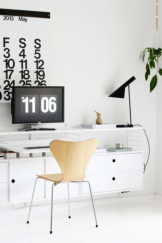 Via Nordic Leaves | Office | Series 7 Chair by Arne Jacobsen | AJ Desk Lamp | Stendig Calendar | Architectmade Bird | Boskke Sky Planter | Hay Kaleido Tray