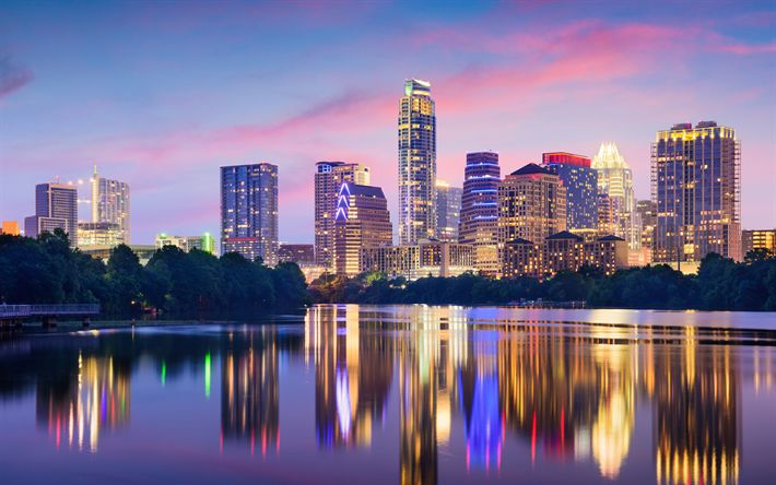 Download wallpapers Austin, Texas, USA, skyscrapers, evening, cityscape, city lights, 4k, modern buildings