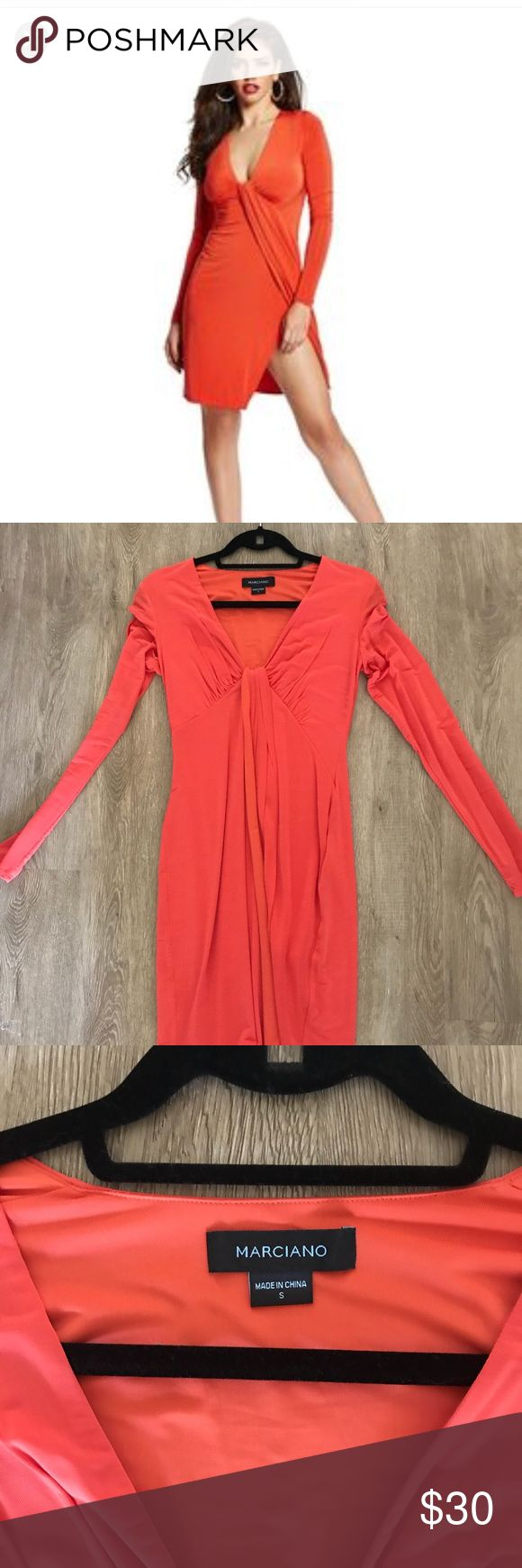 Marciano Orange Long Sleeve Dress Size Small Worn once! In great condition I recently had a baby and I don't see myself wearing this again please make an offer if you're interested!!! Marciano Dresses Mini