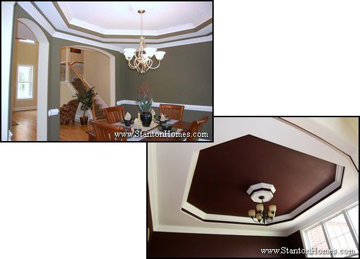 Octagonal trey ceilings. The octagonal trey is especially appealing with multiple tiers, or a deep accent color and a dropped center medallion feature.