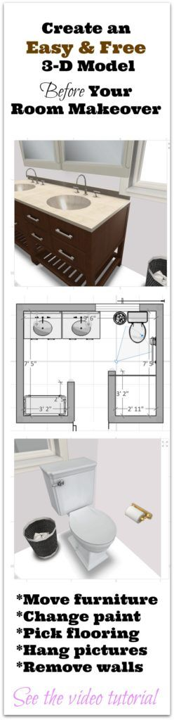 Create an easy and free 3D model of your room makeover before you get started - Great planning tool - Thrift Diving Blog