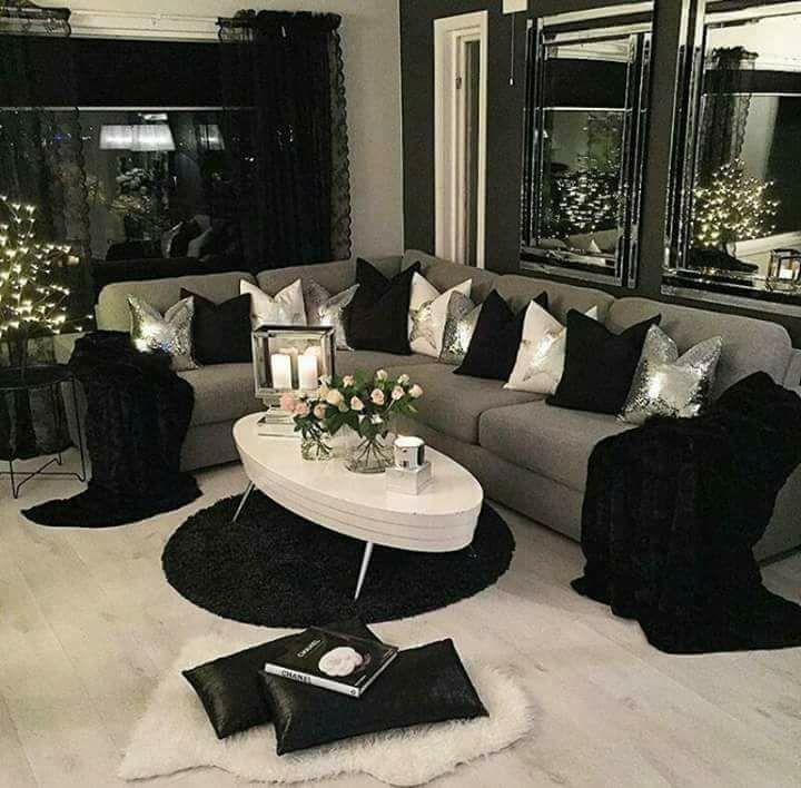 Black And White Living Room Decor Black
