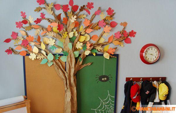 Un lavoretto per bambini educativo e divertente: l'albero autunnale con foglie da costruire con carta o cartoncino nelle classi della scuola primaria