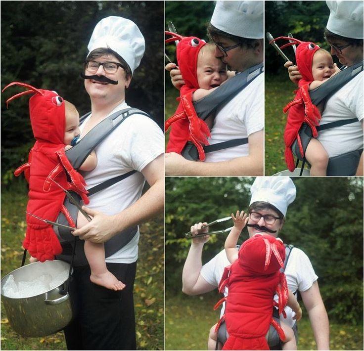 costumes Halloween super originaux - un chef souriant et son bébé déguisé en homard