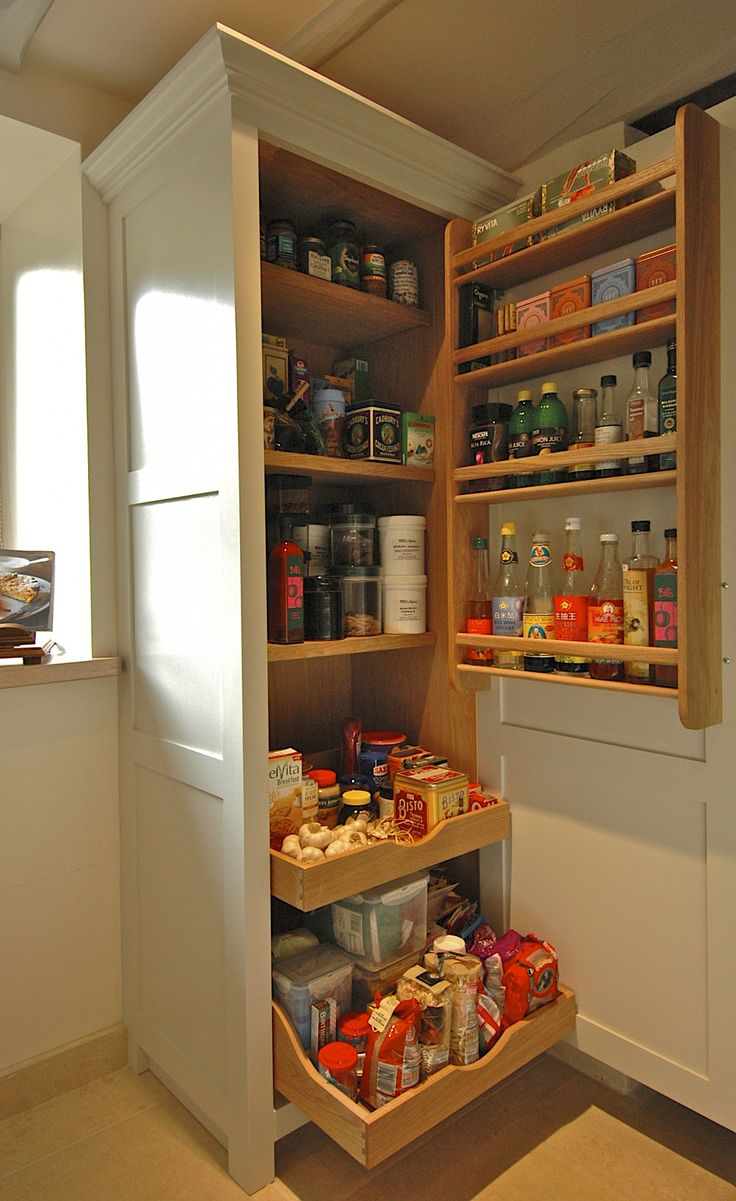 Higham - This single door larder offers substantial storage. With two scooped and scalloped drawers at the bottom with a storage rack on the door reducing the depth of the shelves.