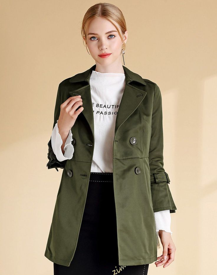 #VIPshop Army Green Lapel Double Breasted Fitted Women's Windbreaker ❤️ Get more outfit ideas and style inspiration from fashion designers at VIP.com.