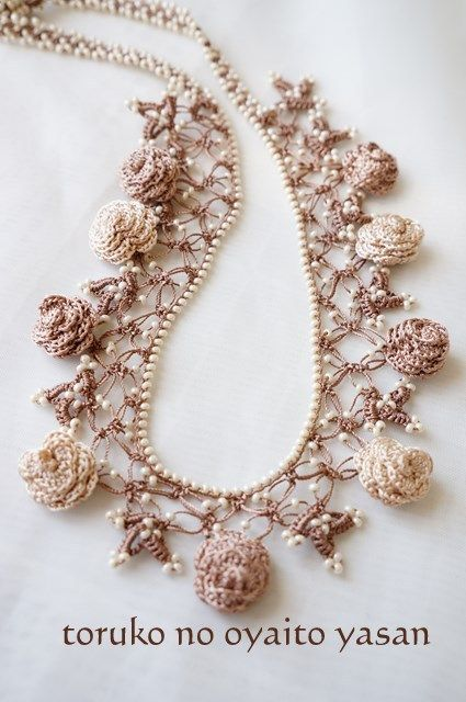 oya beaded crochet necklace - or, what to do with all of the wonderful tiny flowers you want to crochet!