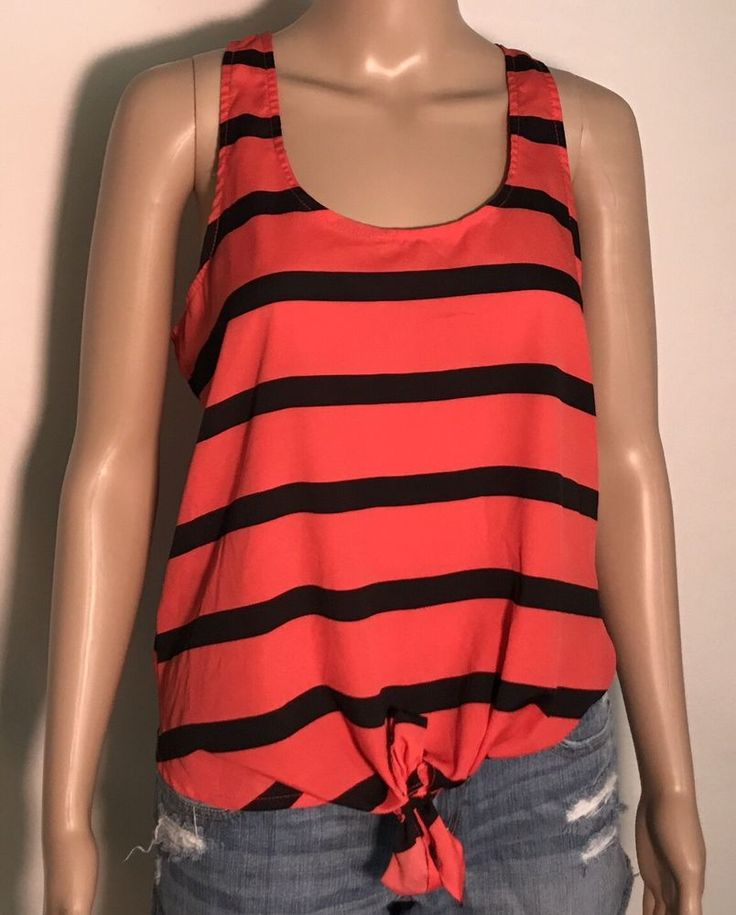 Black and Coral Striped Women's Top Sleeveless Size L Large #Timing #KnitTop