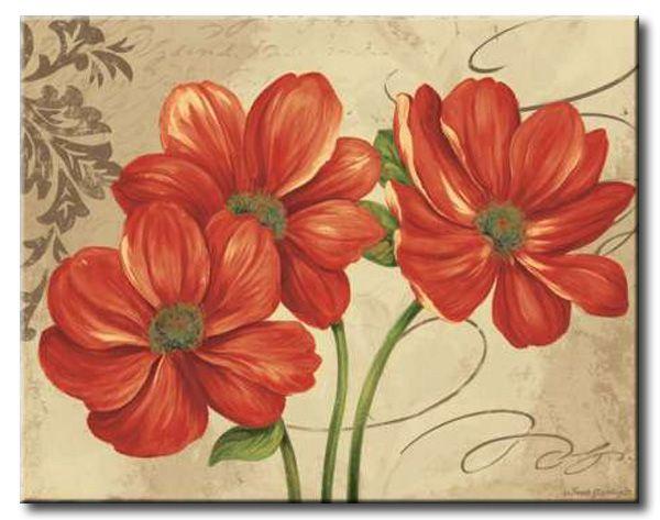 Gla 563 colori i cuadro flores rojas sobre fondo vintage - Cuadros vintage para salon ...