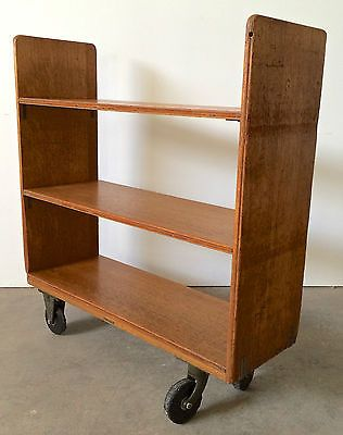 Vtg Antique Industrial Wood Oak Rolling Library Bookcase Book Cart Shelf Library Bookcase Old