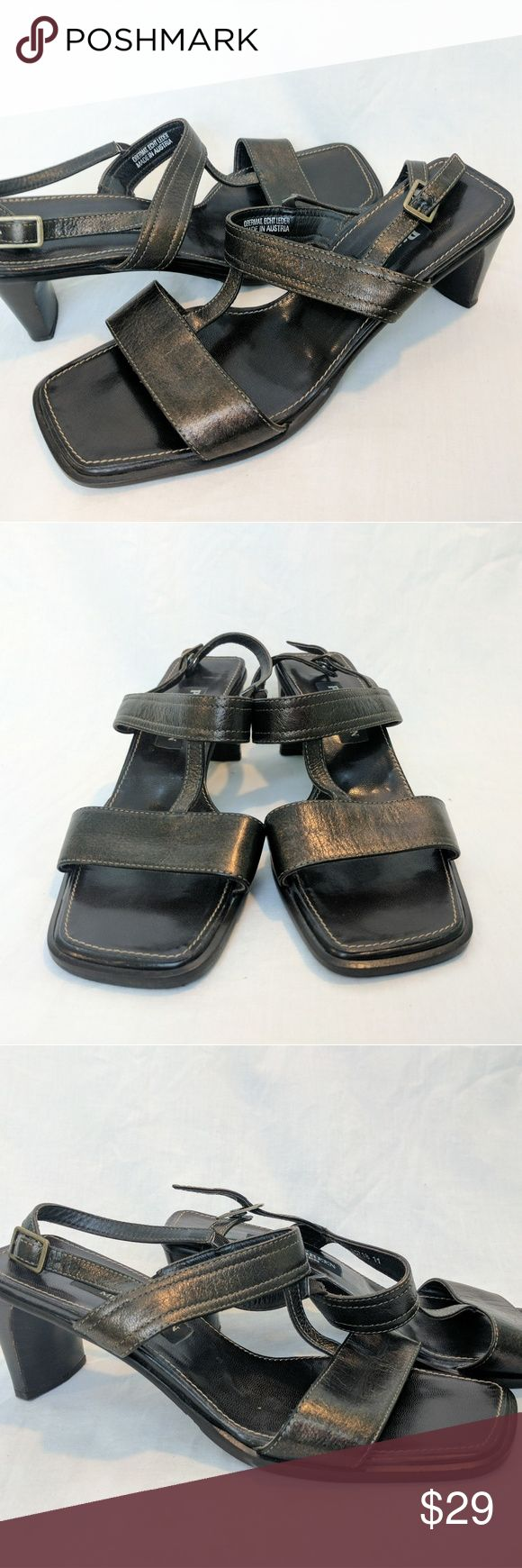 """Paul Green Munchen metallic brown sandals These pre-loved Paul Green sandals show wear consistent with use, creasing, discoloration, and scuffs. They are in goo used condition. The UK size 5 is approximately a US size 7.5.    Appx 2"""" blocky heel  Made in Austria  Slingback with buckle  Metallic dark brown leather upper  Synthetic sole Paul Green Shoes Heels"""