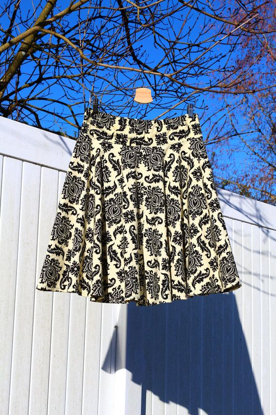 FuLL CiRcLe Skirt Damask Black and Cream Skirt by SewingBySelena