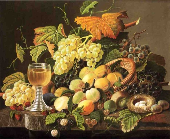 Still Life with Fruit, Bird's Nest and Wine Glass by Severin Roesen #art