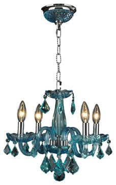 Clarion 4-Light Chrome Finish Coral-Blue Crystal Chandelier contemporary-chandeliers