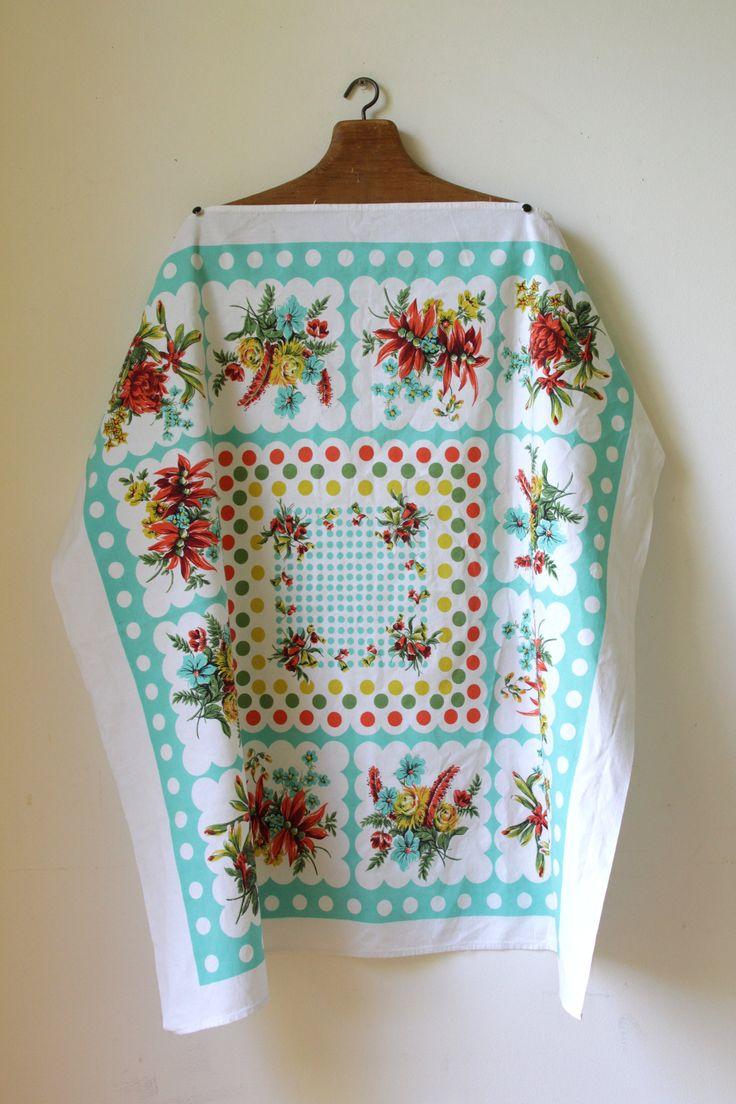 Vintage cotton table linen/blue floral tablecloth/ small Australian souvenir tablecloth/ cottage chic decor/ unique housewarming gift by RetroandRosesvintage on Etsy