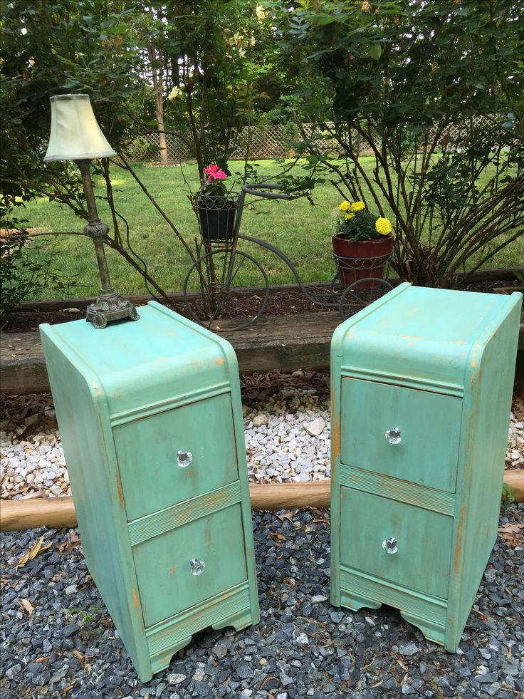 One vintage waterfall vanity taken apart painted with for Mint green furniture paint