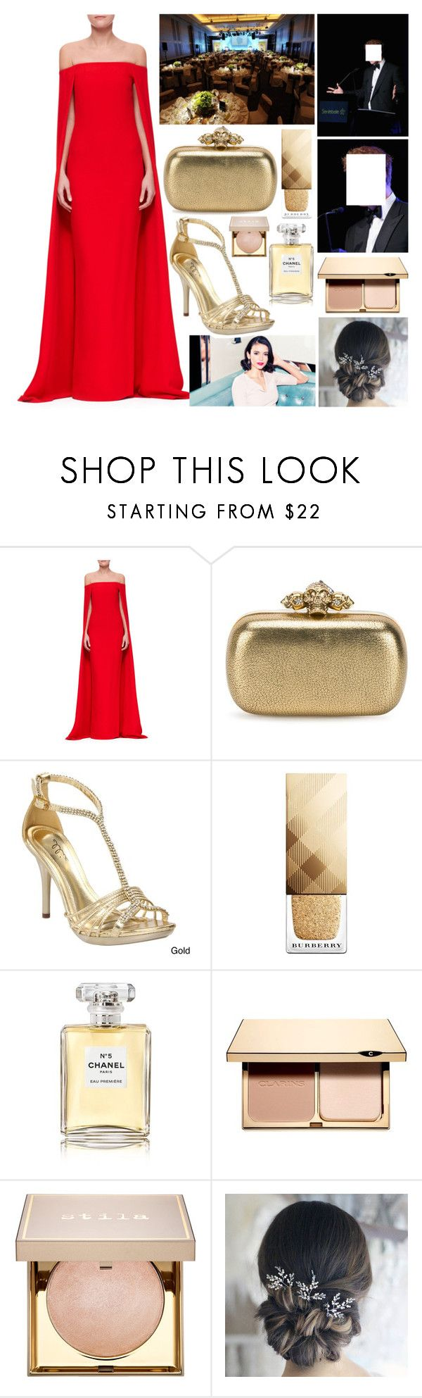 """""""'Forget Me Not' special dinner."""" by duchessamparo ❤ liked on Polyvore featuring Ralph Lauren Collection, Alexander McQueen, Ellie, Burberry, Chanel, Clarins and Stila"""