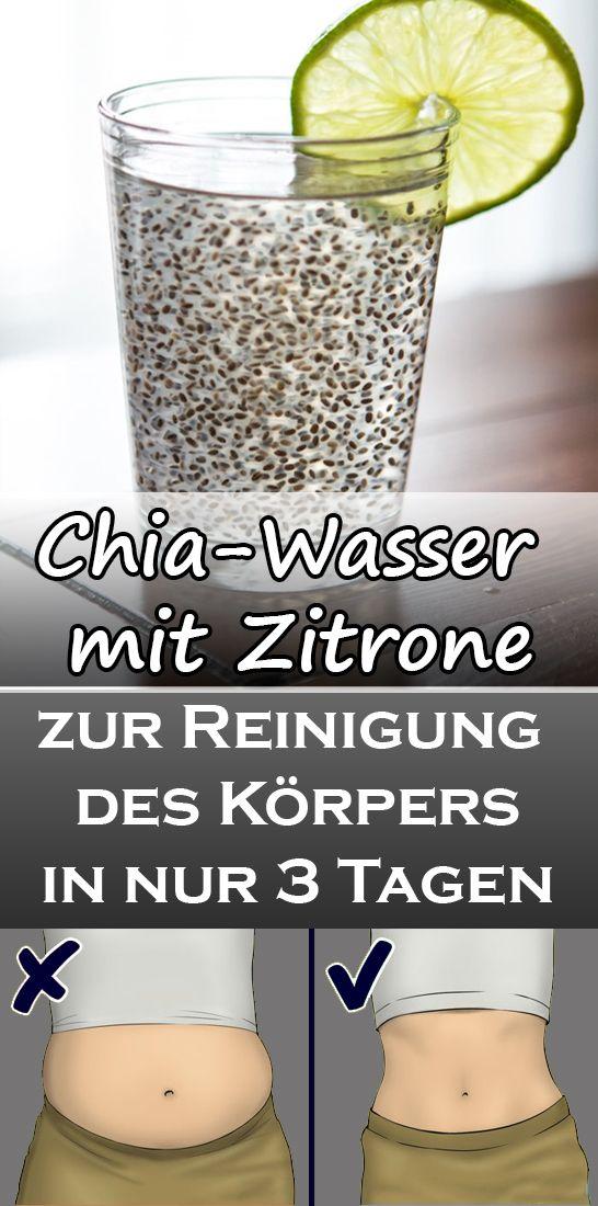 Chia-Wasser mit Zitrone zur Beseitigung von angesammeltem Fett und zur Reinigung des Körpers