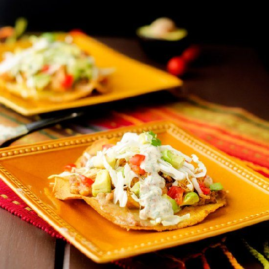 Chicken & Bean Tostadas with Chipotle Lime Sauce.