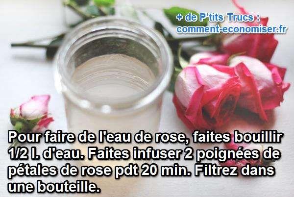 Ce soin à l'eau de rose a des vertus multiples en cosmétique et en cuisine. Préparer une eau de rose facilement et gratuitement à la maison demande 3 étapes seulement. Regardez :-)  Découvrez l'astuce ici : http://www.comment-economiser.fr/recette-eau-de-rose.html?utm_content=bufferfb030&utm_medium=social&utm_source=pinterest.com&utm_campaign=buffer
