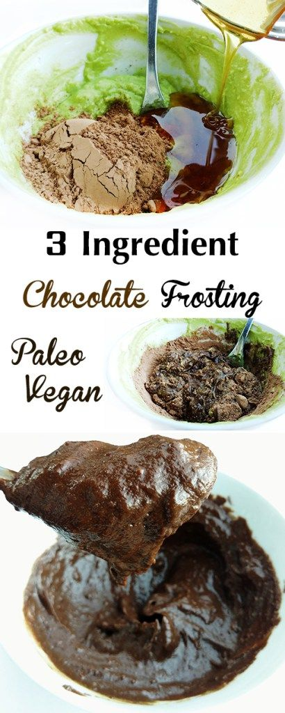 3 ingredient healthy chocolate frosting (raw, vegan, paleo, nut-free) made with avocados
