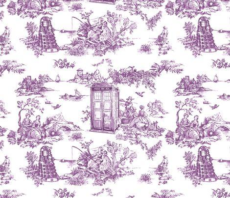 tardis toile de jouy lavender by debi_birkin, click to purchase fabric