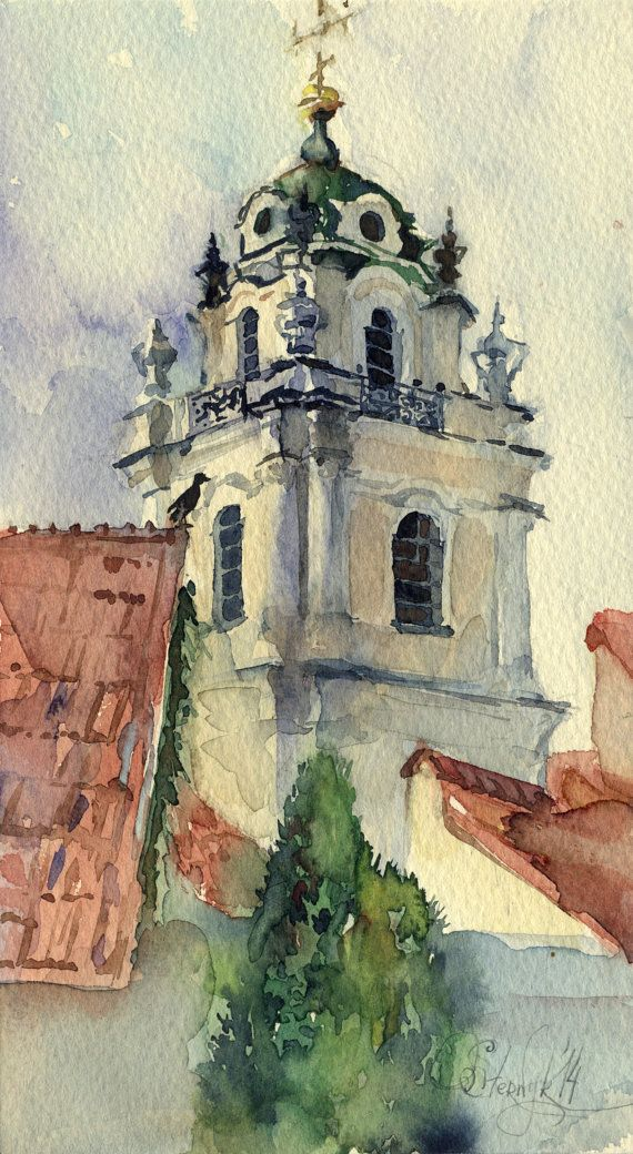 Original watercolor architecture painting - Vilnius, Vilniaus Universitetas.    Year: 2014  Medium: Watercolor, Paper (Saunders Waterford)  Size