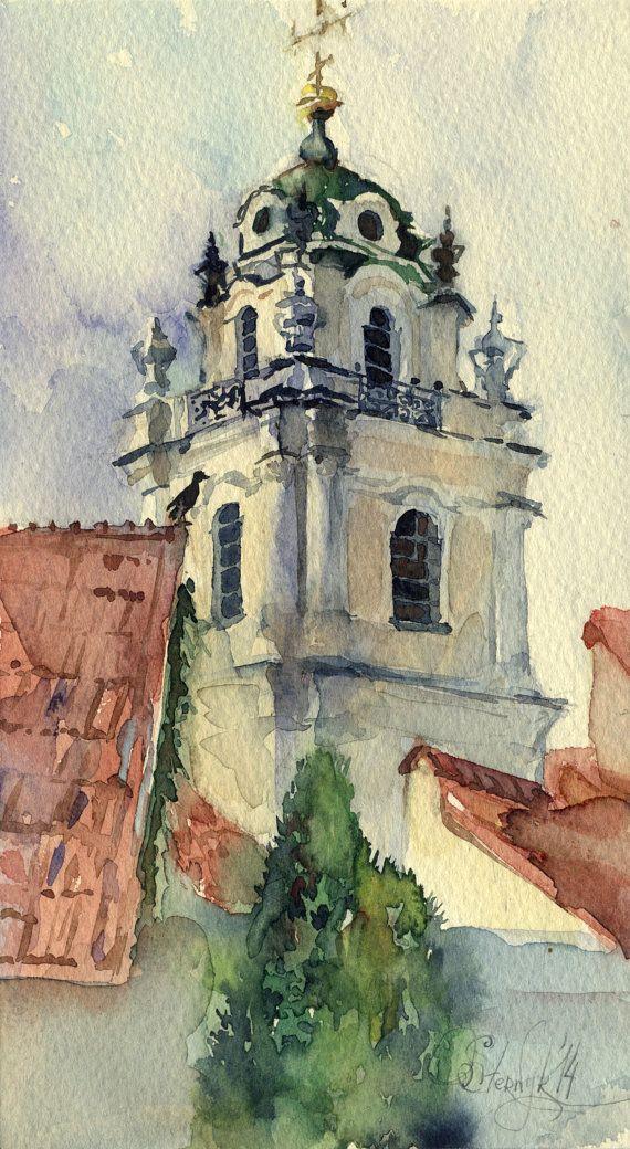 Jan Brind - Original watercolor architecture painting - Vilnius, Vilniaus Universitetas. Year: 2014 Medium: Watercolor, Paper (Saunders Waterford) Size