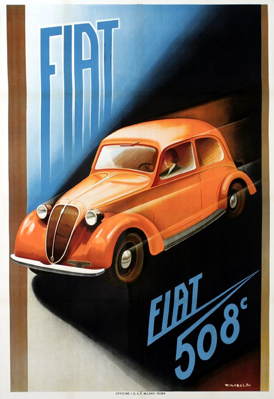 Vintage Italian Posters ~ #Italian #vintage #posters ~ Fiat 508C by Riccobaldi, Giuseppe 1937