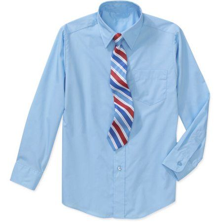 George Boys' Packaged Dress Shirt and Tie Set, Size: 4/5, Blue