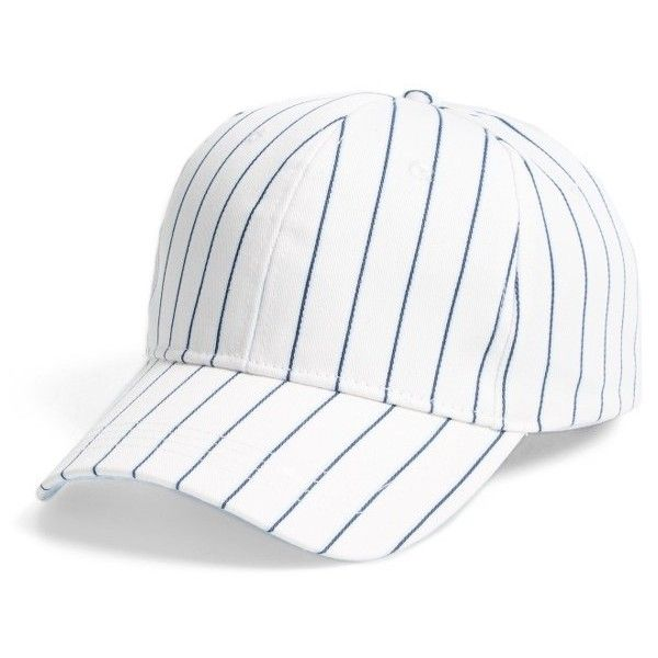 Women's Bp. Stripe Baseball Cap ($15) ❤ liked on Polyvore featuring accessories, hats, white multi, baseball hat, pinstripe hat, white baseball cap, white hat and white ball cap