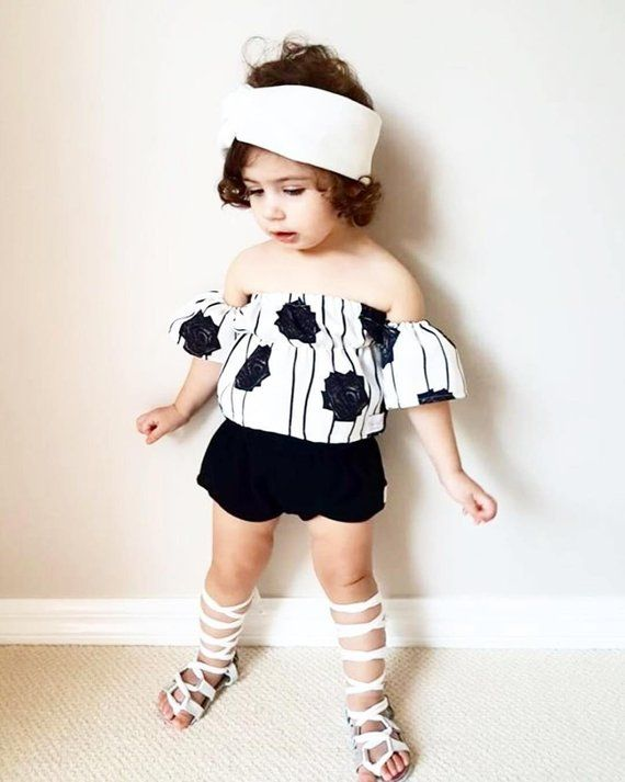 422d5cc7445 Baby sets, Vacation, Vintage girl Set, Sun Suit, Toddler, Shorts and Crop  Top, Off the shoulder, Sum