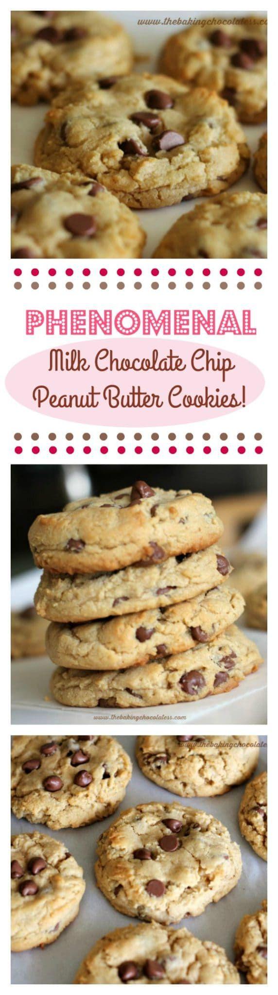 """Phenomenal"" Milk Chocolate Chip Peanut Butter Cookies (Soft n' Thick) via @https://www.pinterest.com/BaknChocolaTess/"