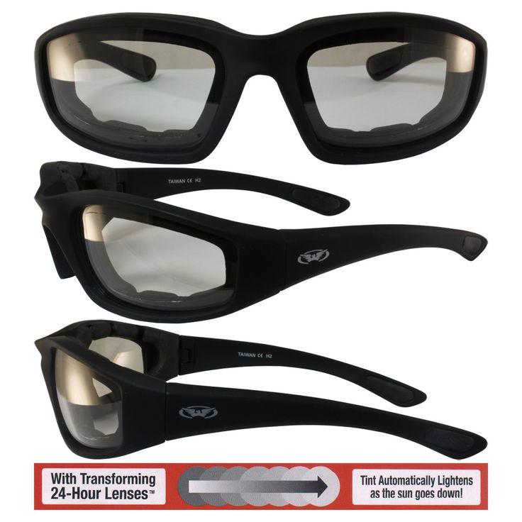 Kickback motorcycle glasses with clearsmoke photochromic