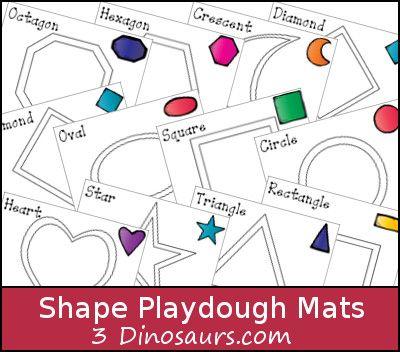 Free Shape Playdough Mats // Imprimibles con formas para jugar con masa