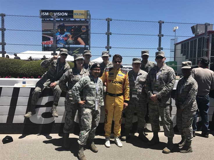 NASCAR Salutes: Troops to the Track  Thursday, May 25, 2017  Landon Cassill poses with troops from Maxwell Air Force Base before the GEICO 500 at Talladega Superspeedway.  Photo Credit: Special to NASCAR.com  Photo: 14 / 14