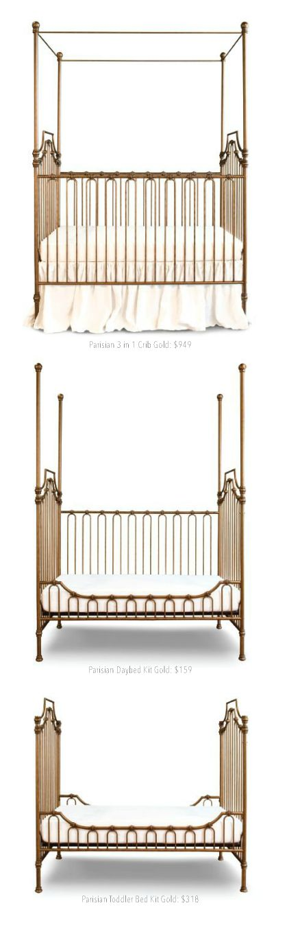 the parisian 3 in 1 crib, daybed & toddler bed | brattdecor.com #four poster #iron #metal #baby #crib #iron #vintage #daybed #toddler bed