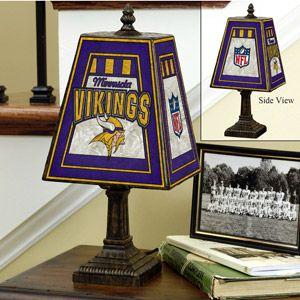 NFL 14inch Art Glass Table Lamp - Minnesota Vikings, Minnesota Vikings