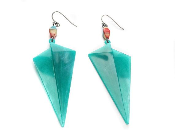 Red and Aqua Dagger Earrings  Red and Teal  Pop Art by elemenopy