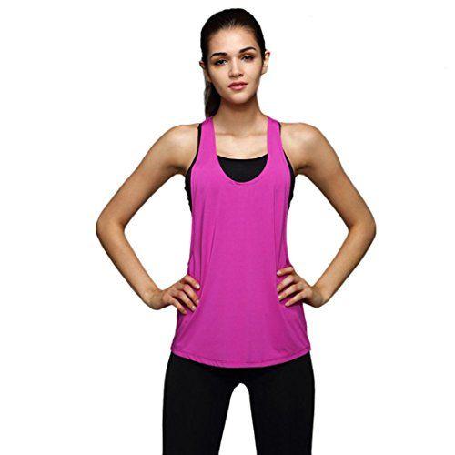 PHOTNO Women Summer Loose Gym sport vest top Training Run Tank Crop Tops Blouse top TShirt L Hot Pink * Visit the image link more details.