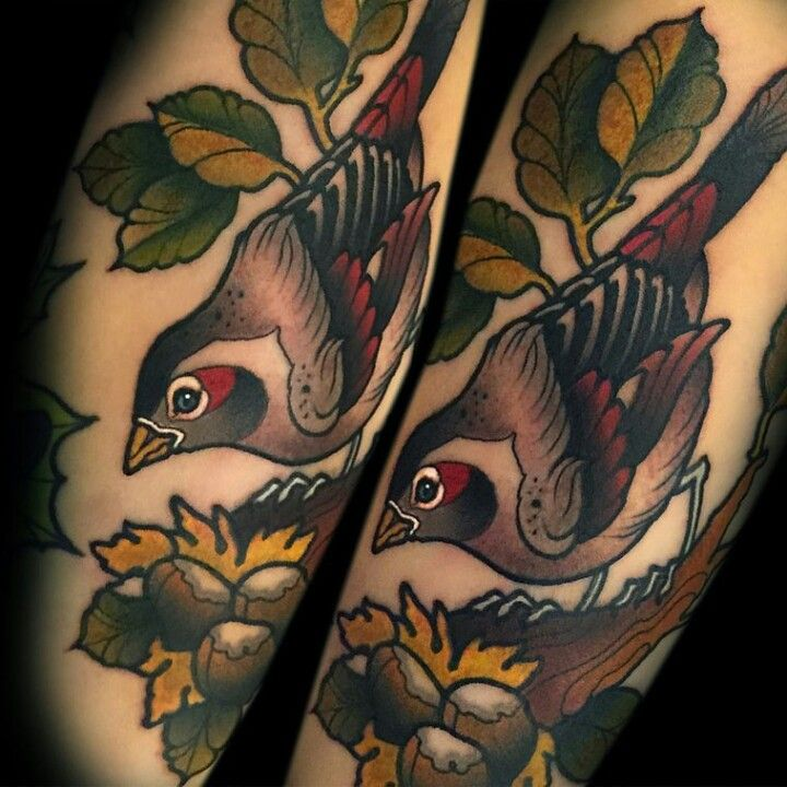 Neo-traditional bird tattoo by @spinsterette on IG