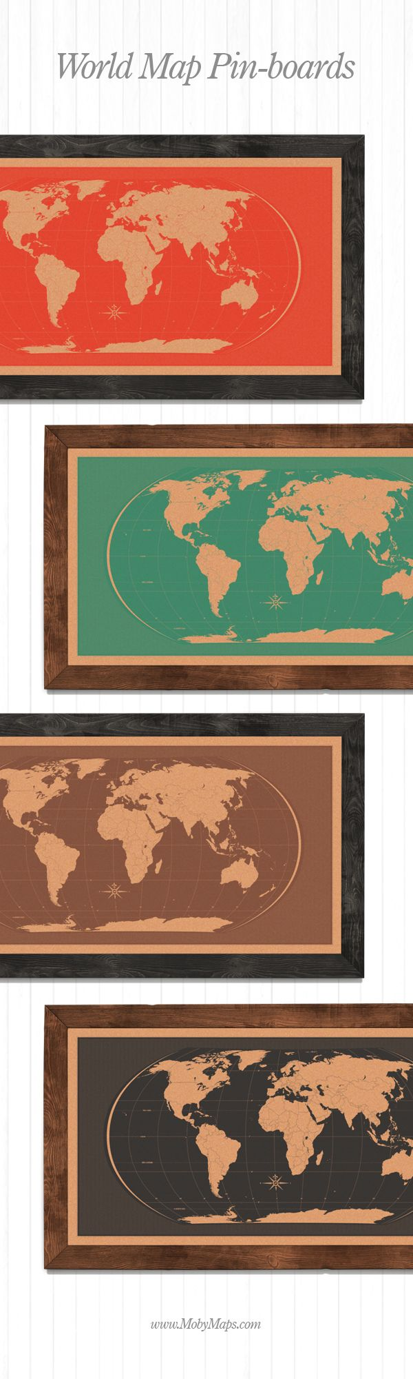 Hand made, silk-screen printed World Map Pin boards on raw cork boards, with rustic wooden frames. #pinboard #worldmap #travel