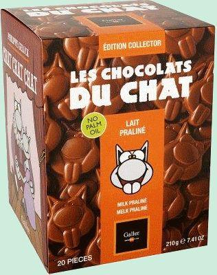 """GALLER chocolat du chat au chocolat lait praliné 20p GALLER chocolat du chat (anciennement langues de chat) au chocolat au lait praliné présenté dans une boîte collector. Un chocolat au """"lait pleine saveur"""" de Galler fourré d'un délicieux praliné aux noisettes. Boîte de 210gr (20p) www.chockies.net"""